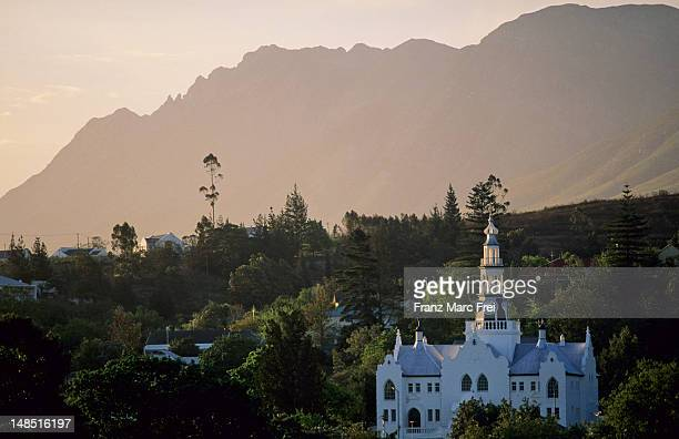 Historic church in foothills of Langeberg mountains.