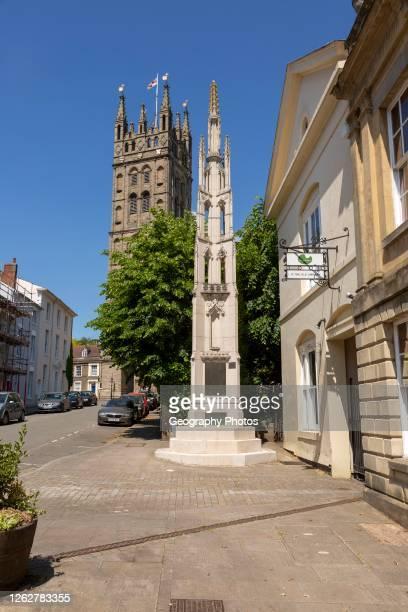 Historic church of Saint Mary, and war memorial, Warwick, Warwickshire, England, UK.