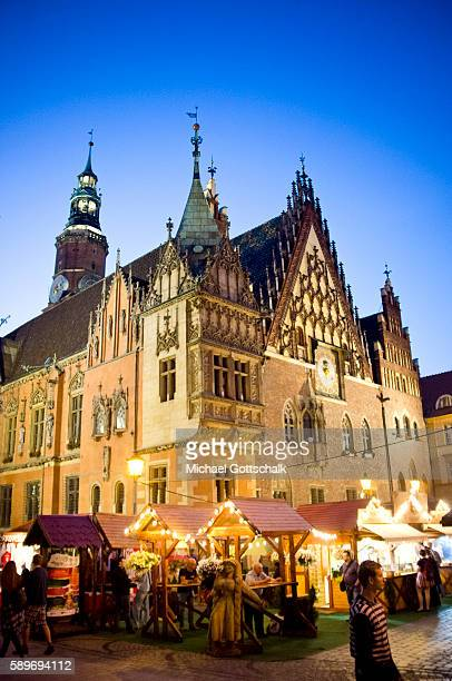 Historic City Hall at the market square or Rynek in Wroclaw or Breslau on June 12 2016 in Wroclaw Poland
