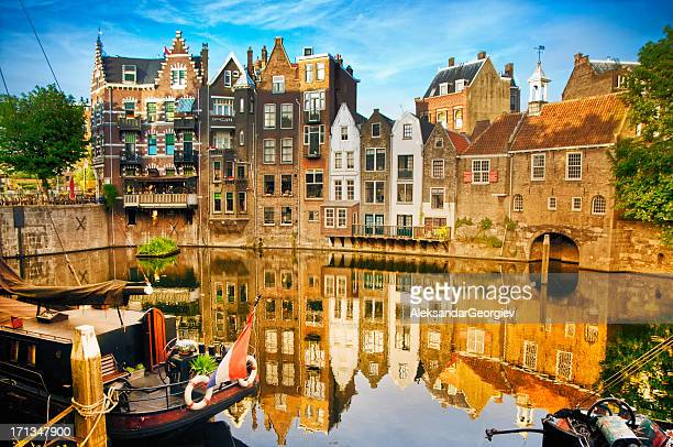 historic cityscape of delfshaven, rotterdam - netherlands stock pictures, royalty-free photos & images