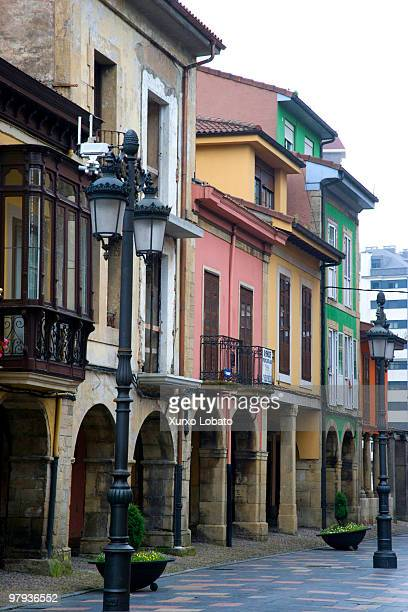 Historic color houses of the city of Aviles Way of saint James Asturias region 24th Juny 2008