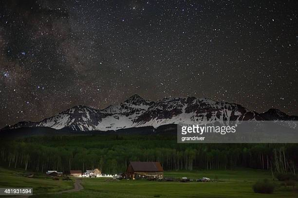 Historic Colorado Schmid Ranch at Night with Stars Milky Way