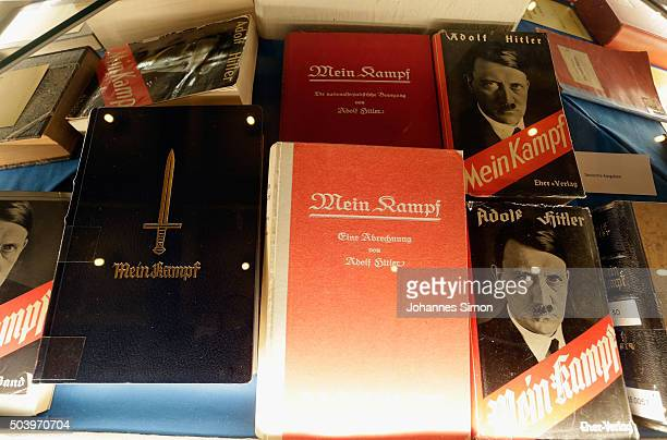 Historic copies of Adolf Hitler's Mein Kampf are displayed during the book launch of a new critical edition at the Institut fuer Zeitgeschichte on...