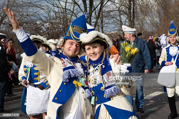 historic costumes of the blue-white corps in carnival - koln stock pictures, royalty-free photos & images