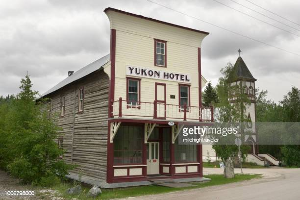 Historic Dawson City Yukon Hotel old wooden building along Klondike Highway