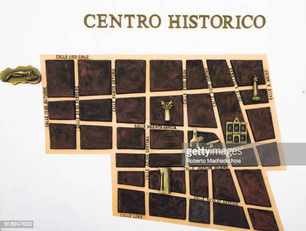 Historic district map on a wall of the main city promenade The area is a tourist attraction