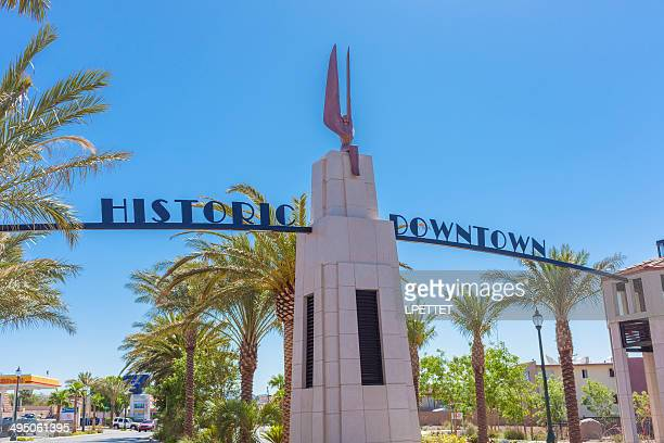 historic downtown boulder city - boulder city stock photos and pictures