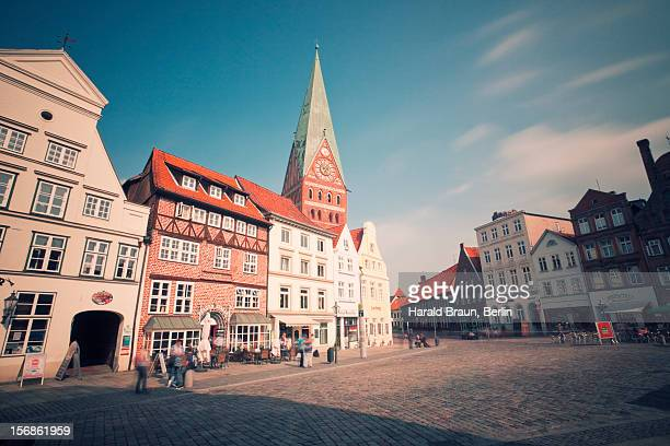 historic downtown lüneburg - lüneburg stock photos and pictures