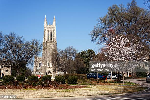 historic duke university campus in the spring - duke stock pictures, royalty-free photos & images