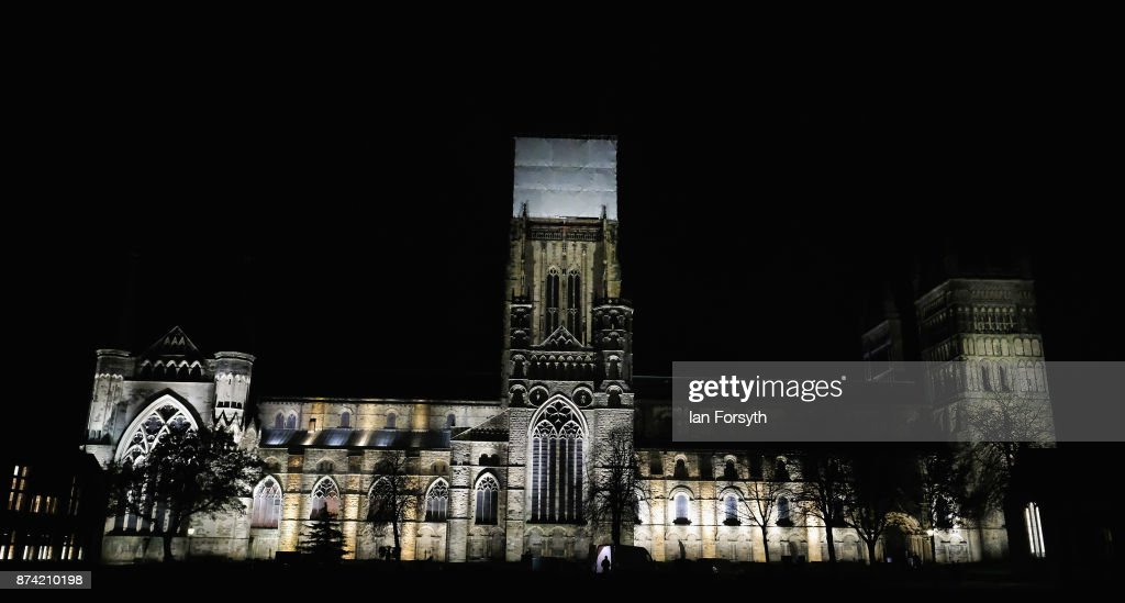 Historic Durham Cathedral is illuminated by a light installation titled 'Methods' by artist Pablo Valbuena during a media preview evening ahead of the Durham Lumiere event on November 14, 2017 in Durham, England. The installation was inspired by the tradition of English change ringing. The Lumiere light festival is the UK's largest light festival and comes to the City of Durham for the fifth time bringing large scale projections and light installations across the city to landmark locations.