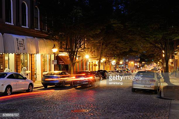 historic east cary street in richmond of virginia - richmond virginia stock pictures, royalty-free photos & images