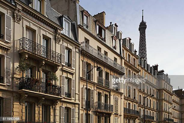 Historic facades and Eiffeltower in Paris