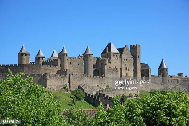 historic fortification city of carcassonne, unesco world heritage site,  languedoc-roussillon, france - carcassonne stock pictures, royalty-free photos & images
