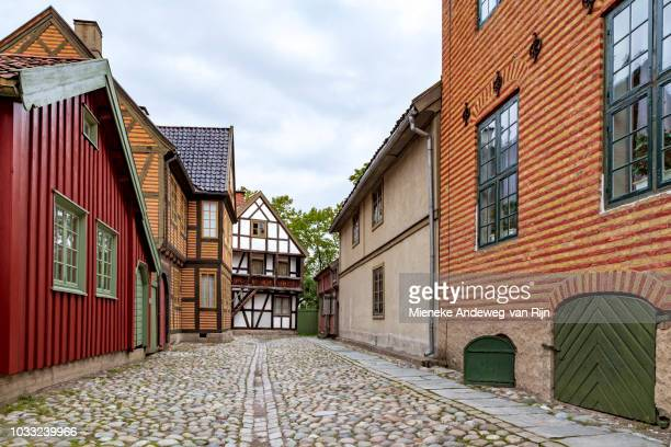 Historic half-timbered houses in the NORSK FOLKEMUSEUM, Oslo, Bygdøy, Norway.