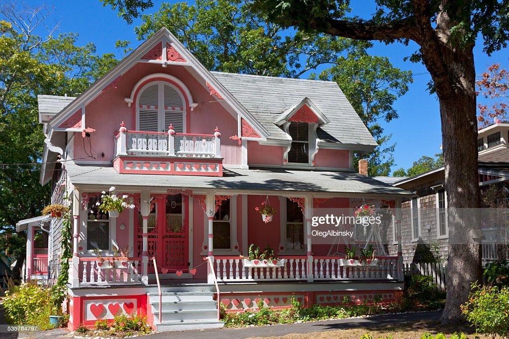 Historic House (Cottage) in Oak Bluffs, Martha's Vineyard, Massachusetts, USA. : Stock Photo