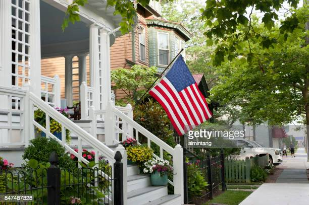 Historic house with American flag in Cape May