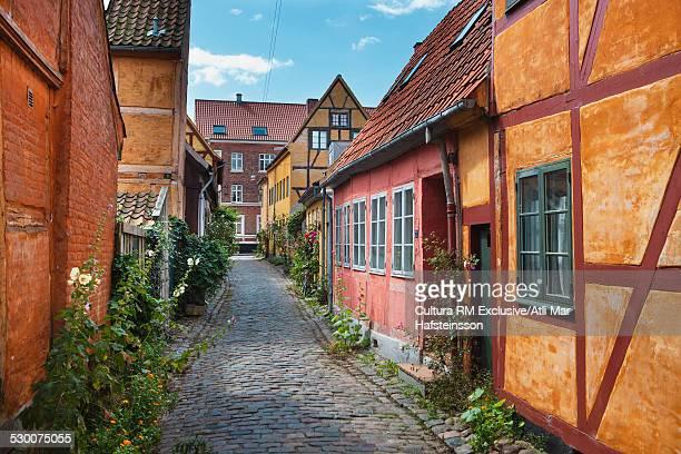Historic houses on cobbled street in Helsingor, Zealand, Denmark