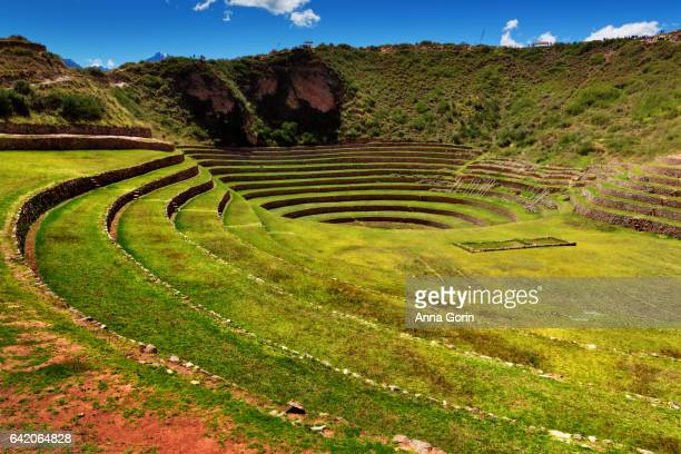 Historic Inca terraces of Moray on spring afternoon, Peru