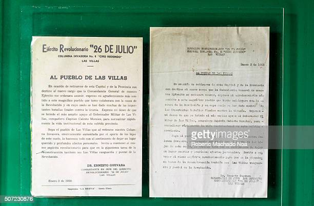Historic information at the derailed armored train memorial by Che Guevara led troops The information was read to the people of Santa Clara during...