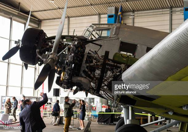 A historic Junkers Ju 52 aircraft in a hangar in Hamburg Germany 6 April 2017 The plane known colloquially as Aunt Ju is celebrating its 81st...