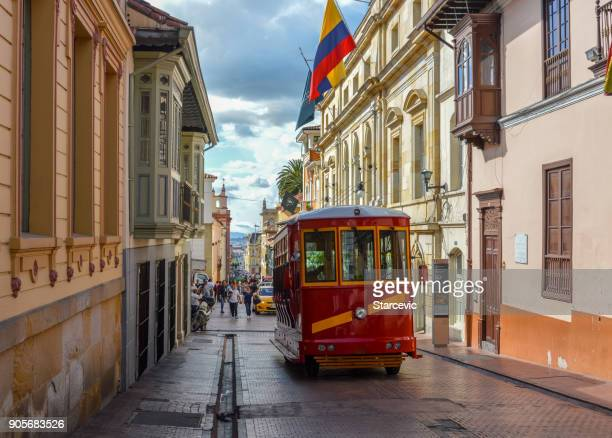 historic la candelaria neighborhood in bogota, colombia - colombia stock pictures, royalty-free photos & images