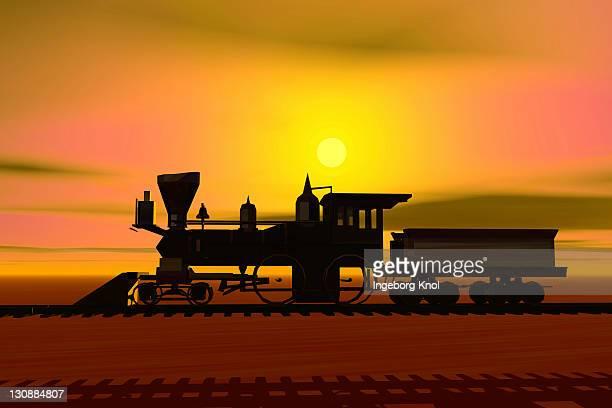 Historic locomotive at sunset, silhouette, 3D graphics