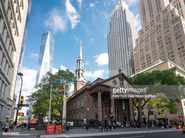 Historic Lower Manhattan houses of worship, Trinity Church and St. Paul's Chapel, raise rainbow flags in honor of LGBT Pride Month on Thursday, June...