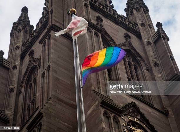 Historic Lower Manhattan houses of worship Trinity Church and St Paul's Chapel raise rainbow flags in honor of LGBT Pride Month on Thursday June 1...