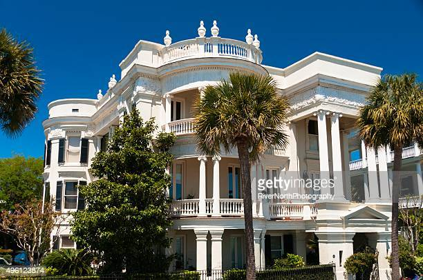 historic mansion, charleston, south carolina - geometrical architecture stock photos and pictures