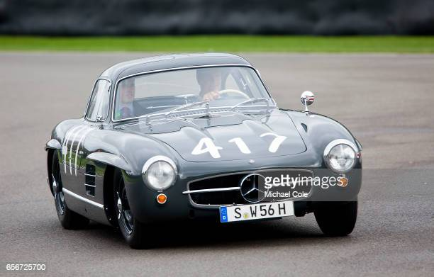 Historic Mercedes Benz 300SL 'Gullwing' parading around the circuit during the 75th Member's Meeting at Goodwood on March 18 2017 in Chichester...