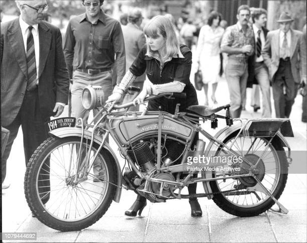 Historic Motorcycles To Race Motorcyclist Sally Ward of Coogee looks over the only 1914 model American Iver Johnson motorcyclein the world at an...