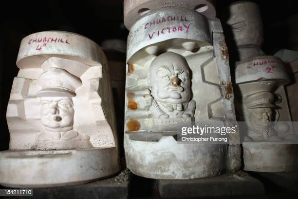 Historic moulds featuring Prime Minister Winston Churchill sit in the attic of the Middleport Pottery as the process of moving them continues on...