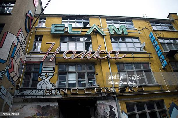 Historic Neon light advertising letters on June 12, 2016 in Wroclaw, Poland.