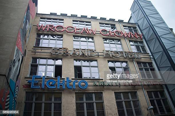 Historic Neon light advertising letters on June 12 2016 in Wroclaw Poland