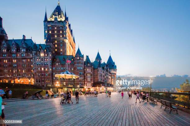 historic old quebec city - chateau frontenac - old quebec stock pictures, royalty-free photos & images