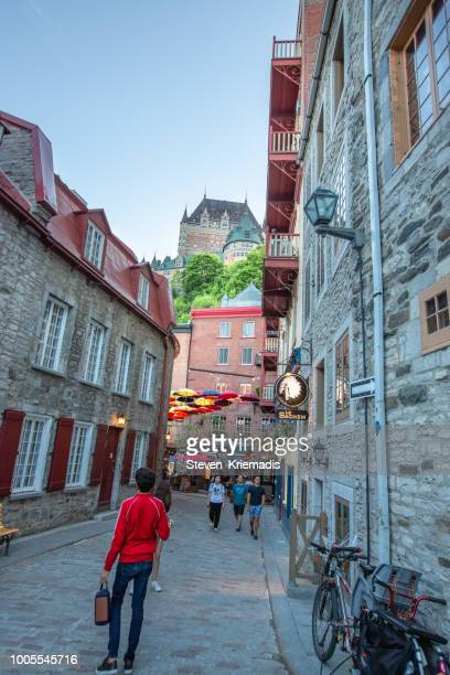 historic old quebec city - petit champlain district - old quebec stock pictures, royalty-free photos & images