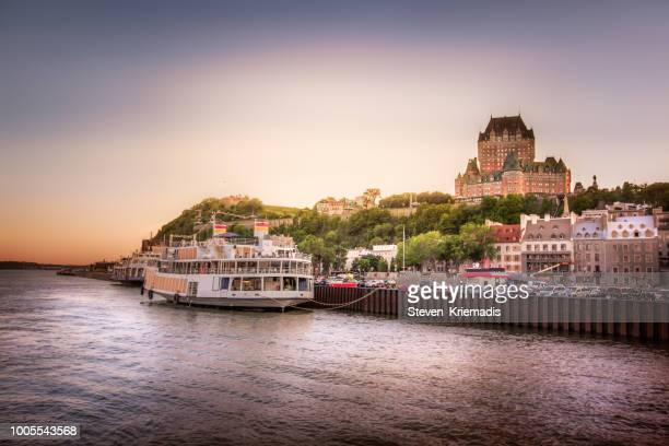 historic old quebec city - st. lawrence river - chateau frontenac hotel stock pictures, royalty-free photos & images