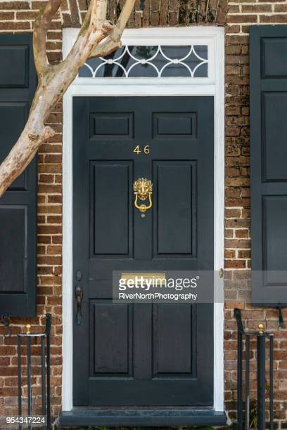historic old town neighborhood, charleston, south carolina - door knocker stock photos and pictures
