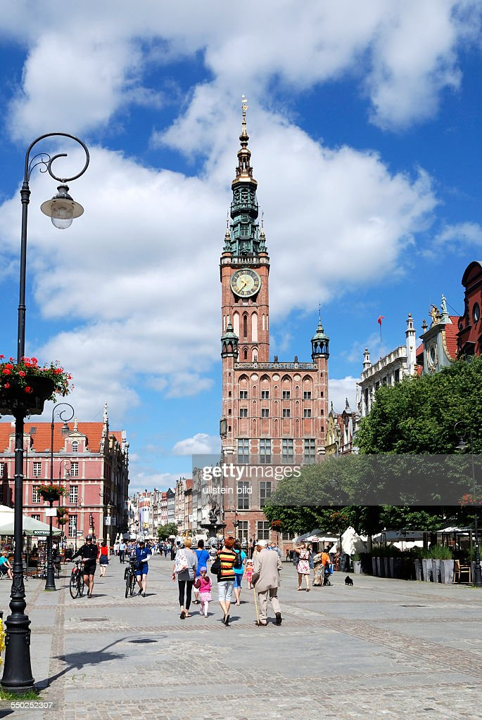 Historic Old Town of Gdansk with the town hall on Long Market. : News Photo