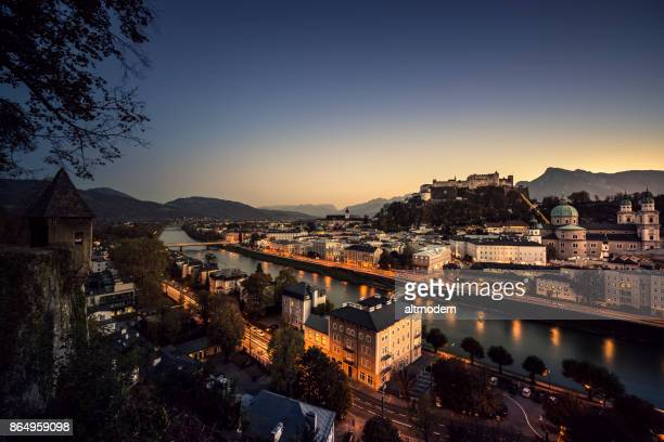 historic old town of salzburg at dusk austria - salzburger land stock pictures, royalty-free photos & images
