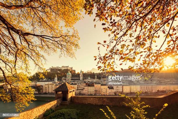 Historic Old Town of Salzburg Austria sun down