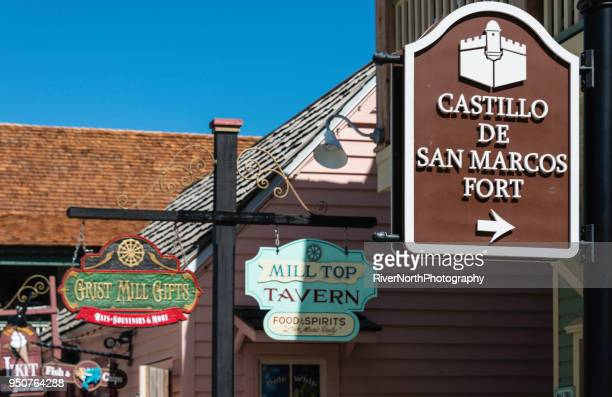historic old town, st. augustine, florida - castillo de san marcos stock photos and pictures