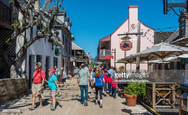 historic old town, st. augustine, florida - st. augustine florida stock photos and pictures