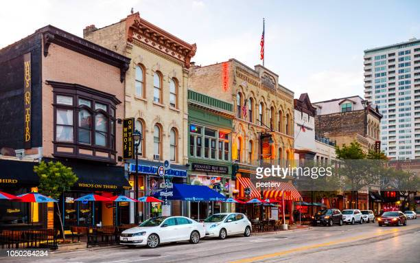 historic old world third street, milwaukee - milwaukee stock pictures, royalty-free photos & images