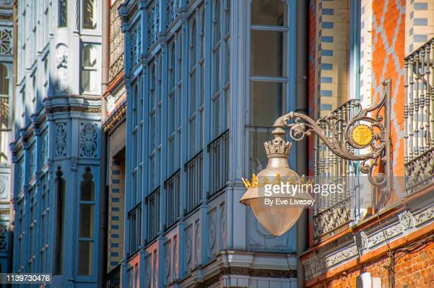 historic ornate apartment building calle del val - valladolid - valladolid spanish city stock pictures, royalty-free photos & images