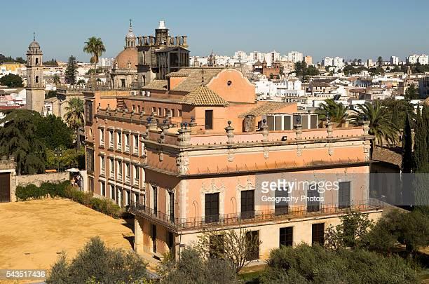 Historic palace building, Palacio de Villavicencio and gardens in the Alcazar, Jerez de la Frontera, Spain.