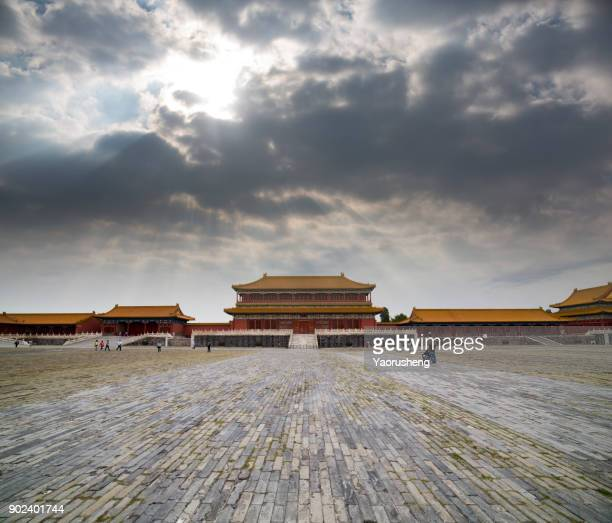 Historic palace buildings inside the Forbidden City in Beijing, China.