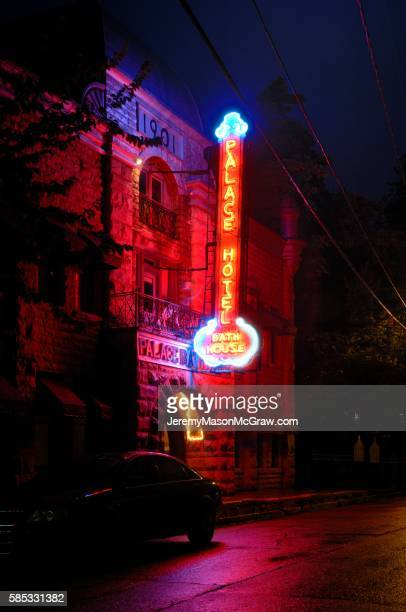Historic Palace Hotel & Bathhouse in Eureka Springs at Night