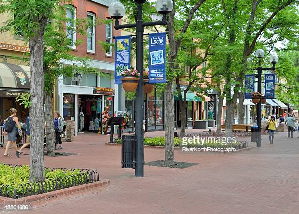historic pearl street mall in boulder colorado - boulder colorado stock photos and pictures