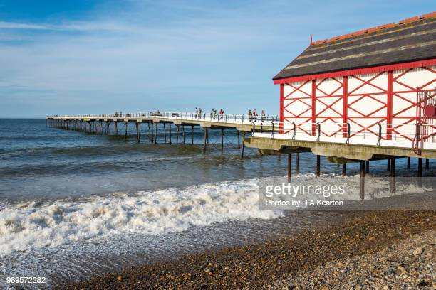 historic pier at saltburn-by-the-sea, north yorkshire, england - saltburn stock photos and pictures